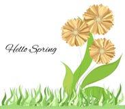 Heller Hintergrund mit Frühlingsblumen Nette gelbe Blumen Einfache Illustration des Vektors für Dekoration, Postkarte, Plakat, stock abbildung