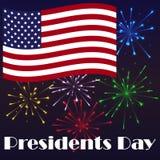 Heller Hintergrund Präsidenten Day mit amerikanischer Flagge und Feuerwerk Feiertagsplakat Stockfotografie