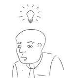 Heller Ideen-Kopf mit dem Fühler Schwarzweiss Stockfotografie