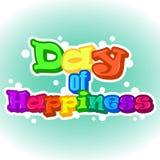 Heller internationaler Tag des Glückhintergrundes, der Grußkarte oder des Aufklebers Feiertagsplakat- oder -plakatschablone in de Lizenzfreie Stockfotos