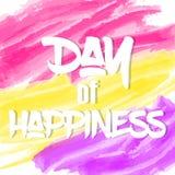 Heller internationaler Tag des Glückhintergrundes oder der Grußkarte Feiertagsplakat- oder -plakatschablone in der Karikaturart V Stockbild