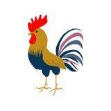 Heller junger Hahn auf einem weißen Hintergrund Eine reizende Illustration eines Hahns in der flachen Art Lizenzfreies Stockbild