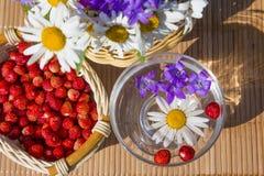 Heller Korb der Frucht und der Blume Stockfotografie