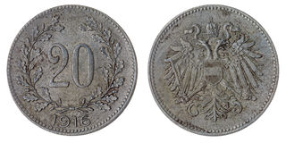 20 heller 1916 Münze lokalisiert auf weißem Hintergrund, Austro-Hungari Stockfotografie