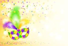 Heller Mardi Gras-Karnevalsmasken-Plakathintergrund Lizenzfreies Stockbild