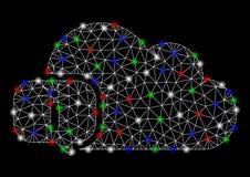 Heller Mesh Network About Cloud mit Aufflackern-Stellen stock abbildung