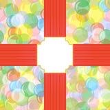 Heller nahtloser Hintergrund mit Ballonen, Kreise, Blasen mit einem Feld für den Text Festliches, frohes, abstraktes Muster Lizenzfreie Stockfotos