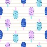 Heller nahtloser Mustervektor des Eis am Stiel-Spaßes Eiscreme-Pop-Arten-Blau und rosa Hintergrund stock abbildung