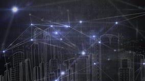 Heller Punkt angeschlossen mit Verbindung Zeichnung der Stadtlandschaft auf Hintergrund lizenzfreie abbildung