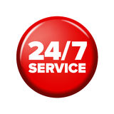 Heller roter runder Knopf mit Wörter ` 24/7 Service ` Stockfotos