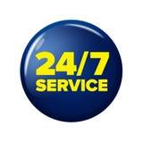 Heller runder Knopf des Marineblaus mit Wörter ` 24/7 Service ` Lizenzfreie Stockfotografie