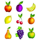 Heller Satz verschiedene Früchte Lizenzfreie Stockbilder