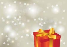 Heller silberner Hintergrund mit Geschenk Vektor Abbildung
