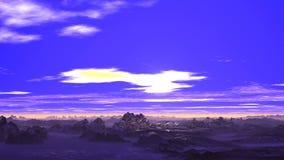 Heller Sonnenaufgang über Snowy-Bergen stock abbildung