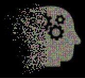 Heller Staub Dot Halftone Intellect Gears Icon lizenzfreie abbildung