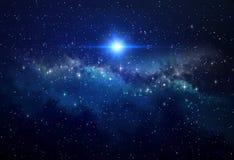 Heller Stern in der Galaxie lizenzfreies stockbild