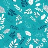 Heller Teal Tossed Floral und Blätter mischen Muster stock abbildung