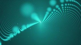 Heller Tunnel der Abstraktion von glühenden Rotationsring-Glühenpartikeln stock video footage