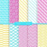 Heller und einfacher gelber rosa und blauer Mustersatz Lizenzfreie Stockfotografie