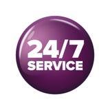 Heller violetter runder Knopf mit Wörter ` 24/7 Service ` Stockfoto