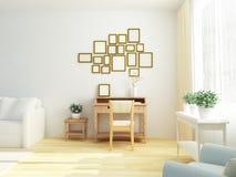 Heller weißer Innenraum des Wohnzimmers mit Weinlesekabinetttabelle Skandinavische Art lizenzfreies stockbild