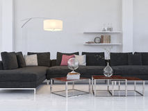 Heller Wohnzimmerinnenraum mit moderner schwarzer Couch/coffe Tabelle Stockfotografie