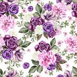 Helles Aquarell blüht nahtloses Muster mit Rosen, Pfingstrose, Petunie und Schmetterling Lizenzfreie Stockfotografie
