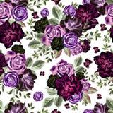 Helles Aquarell blüht nahtloses Muster mit Rosen, Pfingstrose, Petunie und Schmetterling Lizenzfreies Stockbild