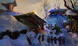 Helles Bild des Dorfs am Winterabend Lizenzfreie Abbildung