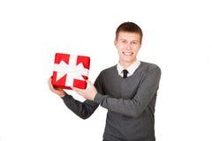 Helles Bild des gutaussehenden Mannes mit einem Weihnachten Lizenzfreies Stockbild
