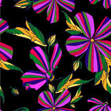 Helles Blumenmuster auf einem schwarzen Hintergrund Stockbilder
