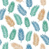Helles buntes nahtloses dekoratives Muster mit den orange blauen und grünen tropischen Palmblättern lokalisiert auf weißem Hinter vektor abbildung