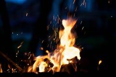 Helles Feuer mit Funken Das Konzept der Natur Lizenzfreies Stockfoto