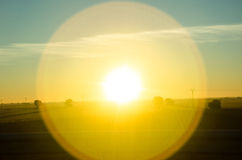 Helles gelbes sundog über La Mancha, Spanien lizenzfreie stockbilder