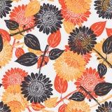 Helles grafisches von Hand gezeichnetes Sonnenblumenbetriebsmuster-Beschaffenheitselement lizenzfreie stockfotos