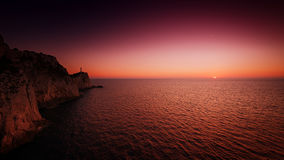Helles Haus am Sonnenuntergang Stockfotografie