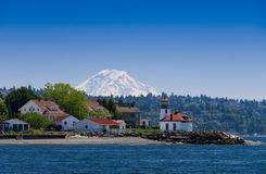 Helles Küstenhaus in Seattle Stockfoto
