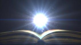 Helles Licht in der Bildung Fantastischer Partikelschwebeflug über dem Buch Platz für Zeichen stock video footage