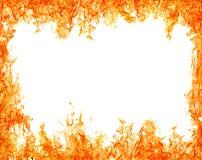 Helles lokalisiert auf weißem orange Flammenrahmen Stockfotografie