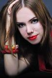 Helles Mädchen mit der roten Lippe Lizenzfreies Stockfoto