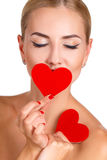 Helles Make-up c-Schönheit und rotes Herz Lizenzfreies Stockbild