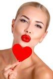 Helles Make-up c-Schönheit und rotes Herz Stockfotos