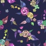 Helles mehrfarbiges Muster von Blumen, Blätter, Oberteile Stockfoto