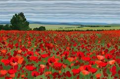 Helles Mohnblumenfeld mit Büschen, Bäume und blauer Himmel vector Illustration Stockfoto