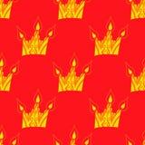 Helles nahtloses abstraktes von Hand gezeichnetes Muster mit Kronen Lizenzfreies Stockfoto