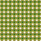 Helles nahtloses Muster der gelben, grünen und schwarzen dekorativen runden Elemente auf einem weißen Hintergrund Stockfotografie