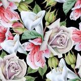 Helles nahtloses Muster mit Blumen calla Rose Dekoratives Bild einer Flugwesenschwalbe ein Blatt Papier in seinem Schnabel lizenzfreie stockfotografie