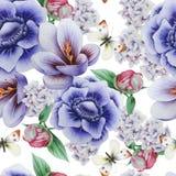Helles nahtloses Muster mit Blumen krokus anemone pfingstrose Dekoratives Bild einer Flugwesenschwalbe ein Blatt Papier in seinem lizenzfreie stockbilder