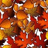 Helles nahtloses Muster mit Herbstlaub von Bäumen Lizenzfreies Stockfoto
