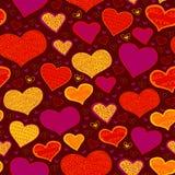 Helles nahtloses Muster mit Herzen in den Kreisen Lizenzfreie Stockfotos